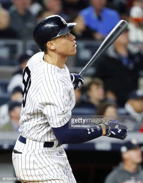 The New York Yankees' Aaron Judge seen in this file photo taken Oct 17 in New York was named a winner of the Silver Slugger Award on Nov 9 ==Kyodo