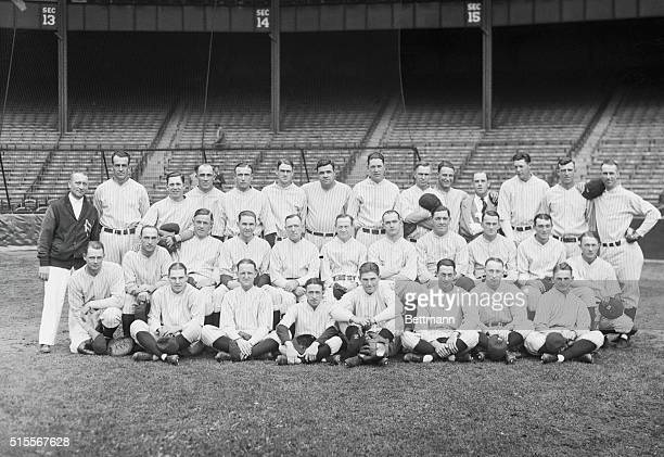 The New York Yankees. Bronx, New York: The New York Yankees as they appeared lined up before World Series games with St. Louis Cardinals. Left to...