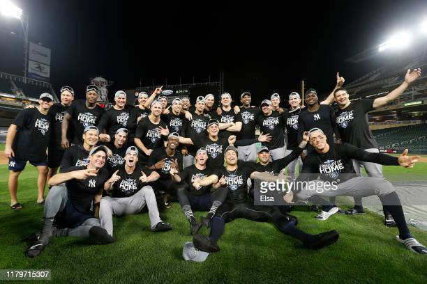 The New York Yankees celebrate after defeating the Minnesota Twins 51 in game three of the American League Division Series to advance to the American...