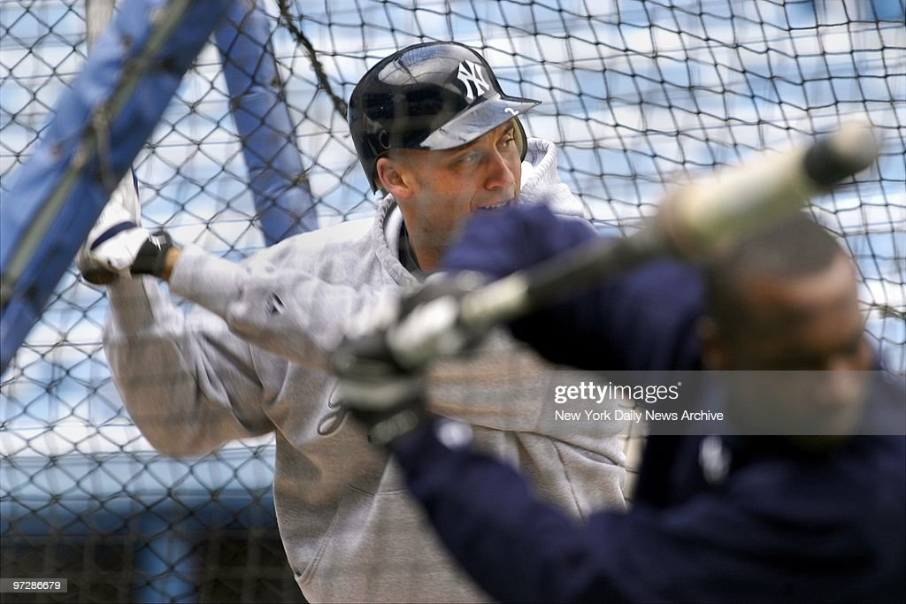 The New York Yankees Derek Jeter Left Is In Batting Cage While