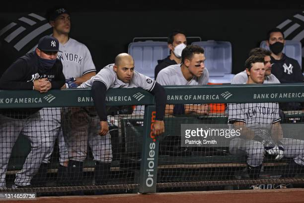 The New York Yankees dugout looks on dejected against the Baltimore Orioles during the ninth inning at Oriole Park at Camden Yards on April 26, 2021...