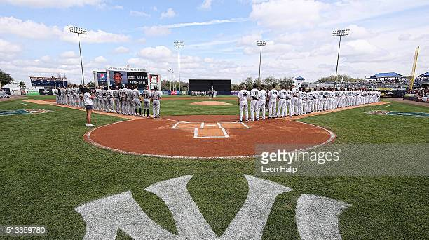 The New York Yankees honor Yogi Berra prior to the start of the Spring Training Game against the Detroit Tigers at George Steinbrenner Field in Tampa...