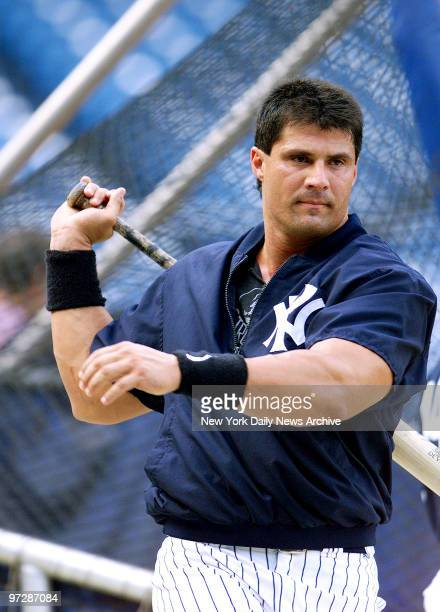 The New York Yankees' newly-acquired slugger Jose Canseco takes a few practice cuts during batting practice before tonight's game at Yankee Stadium.