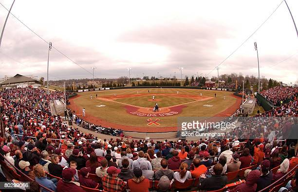 The New York Yankees play the Virginia Tech Hokies in a memorial exhibition game at English Field on March 18 2008 in Blacksburg Virginia