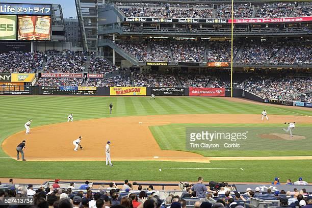 The New York Yankees put on an infield shift during the New York Yankees V New York Mets Subway Series game at Yankee Stadium The Bronx New York 12th...
