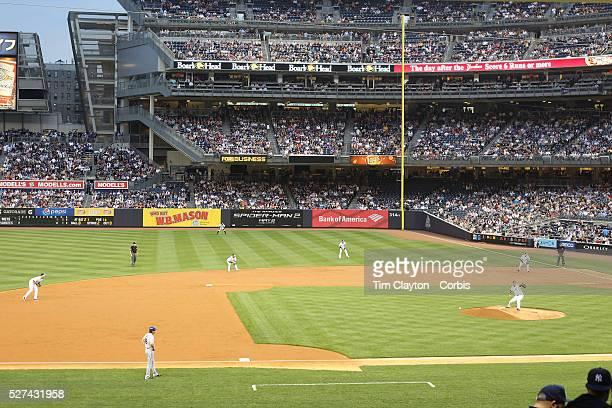 The New York Yankees put on an infield shift during the New York Yankees V New York Mets, Subway Series game at Yankee Stadium, The Bronx, New York....