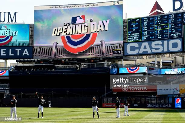 The New York Yankees take batting practice before the game against the Baltimore Orioles during Opening Day at Yankee Stadium on March 28 2019 in the...