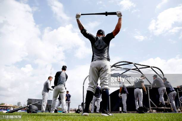 The New York Yankees take batting practice prior to the Grapefruit League spring training game against the Tampa Bay Rays at Charlotte Sports Park on...