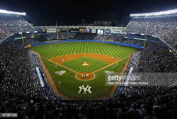 The New York Yankees take on the Boston Red Sox in Game 2 of the American League Championship Series at Yankee Stadium The Yanks went on to beat the...
