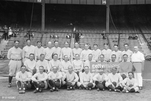 The New York Yankees, winner of the 1927 pennant in the American league: Bottom row, left to right: pitcher Dutch Ruether, infielder Joe Dugan,...