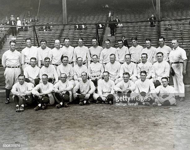 The New York Yankees, winner of the 1927 pennant in the American league. Bottom row, left to right, are: pitcher Dutch Ruether, infielder Joe Dugan,...