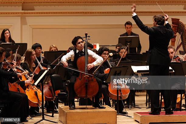 The New York Youth Symphony at Carnegie Hall on Sunday afternoon March 11 2012Image shows Jay Campbell on cello with members of the New York Youth...