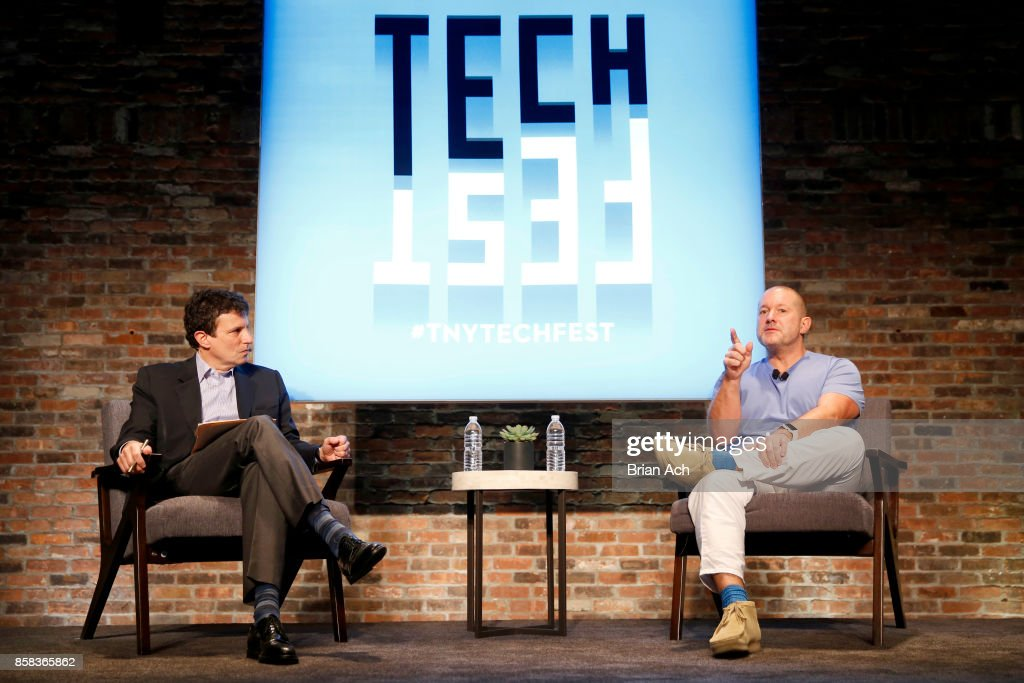 The New Yorker Editor David Remnick and Apple's Cheif Design OfficerJony Ive speak onstage during the 2017 New Yorker TechFest at Cedar Lake on October 6, 2017 in New York City.