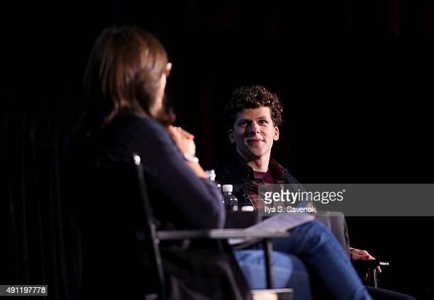 The New Yorker editor Susan Morrison and actor Jesse Eisenberg speak onstage during The New Yorker Festival 2015 Jesse Eisenberg Talks with Susan...