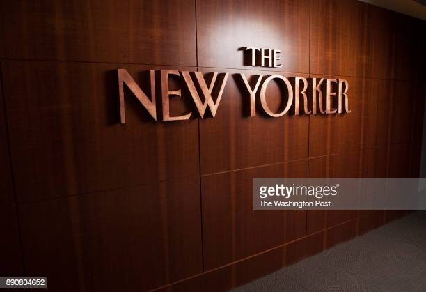 The New Yorker logo lines the entryway to the magazine's offices in New York NY on March 26th 2014 Bob Mankoff is the head carton editor had his...
