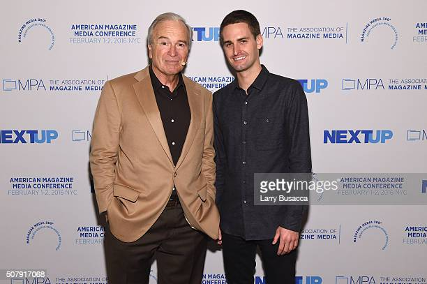 The New Yorker staff writer Ken Auletta and CEO and cofounder of Snapchat Evan Spiegel attend the American Magazine Media Conference at Grand Hyatt...