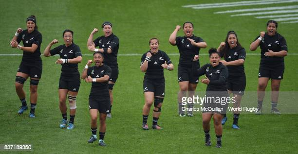 The New Zealanad team perform the Haka prior to kickoff during the Women's Rugby World Cup 2017 Semi Final match between New Zealand and the United...
