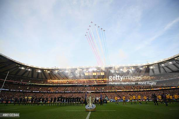The New Zealand All Blacks and Australia teams line up for the national anthems as the red arrows fly overhead prior to the 2015 Rugby World Cup...