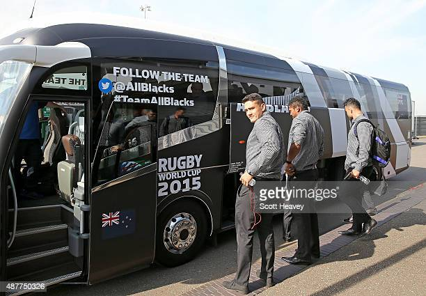 The New Zealand All Blacks arrive at Heathrow Airport for the Rugby World Cup on September 11 2015 in London England