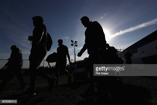 The New Zealand All Blacks arrive for a training session at Toyota Park on November 1 2016 in Chicago Illinois