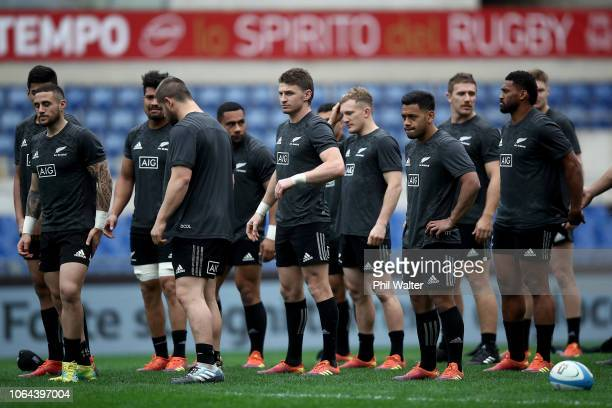 The New Zealand All Blacks during the All Blacks Captains Run at Stadio Olimpico on November 23 2018 in Rome Italy