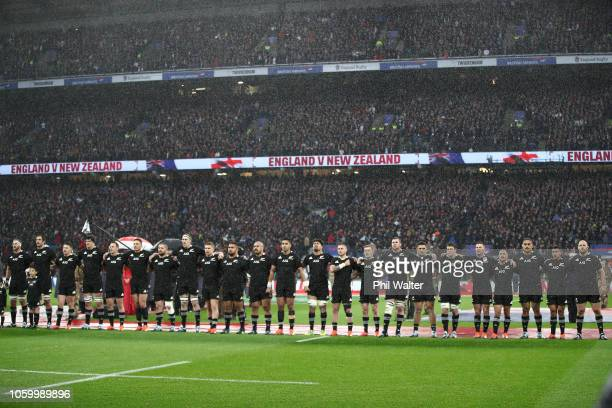 The New Zealand All Blacks line up for the National Anthem during the Quilter International match between England and New Zealand at Twickenham...