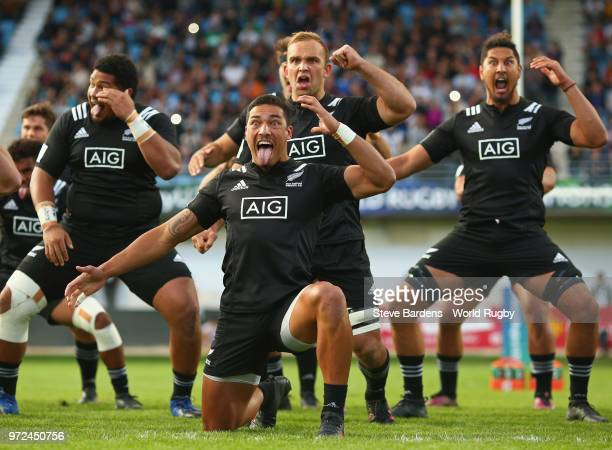 The New Zealand All Blacks perform a Haka prior to the semi final match between New Zealand and France at Stade AimeGiral on June 12 2018 in...