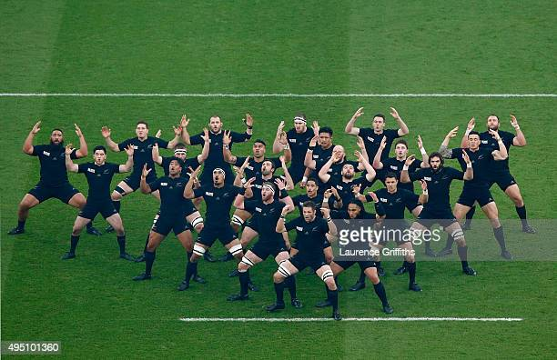 The New Zealand All Blacks perform 'the Haka' ahead of the 2015 Rugby World Cup Final match between New Zealand and Australia at Twickenham Stadium...