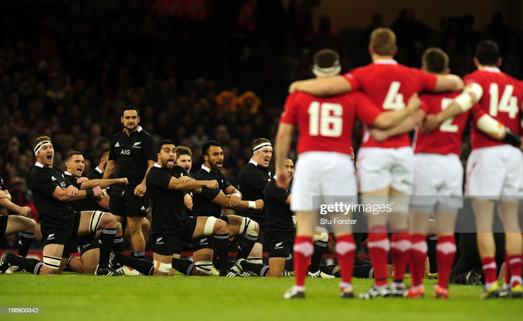 The New Zealand All Blacks perform the Haka before the International Match between Wales and New Zealand at Millennium Stadium on November 24, 2012 in Cardiff, Wales.