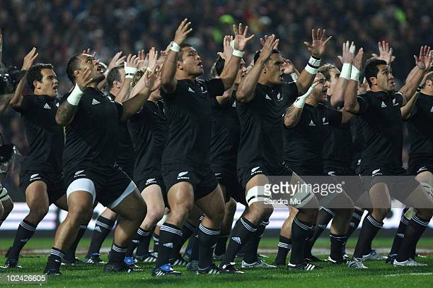 The New ZEaland All Blacks perform the Haka before the test match between the New Zealand All Blacks and Wales at Waikato Stadium on June 26 2010 in...