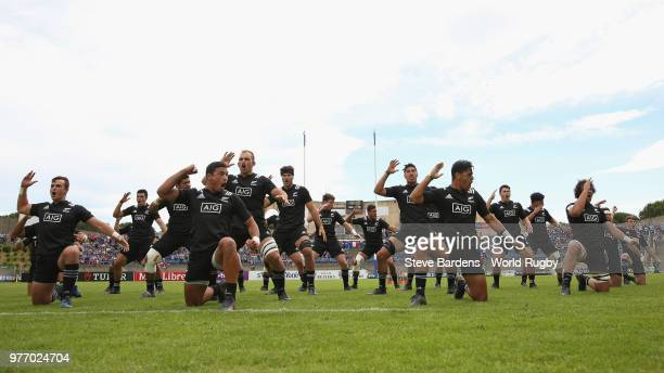 The New Zealand All Blacks perform the Haka during the World Rugby via Getty Images Under 20 Championship 3rd Place play off match between South...