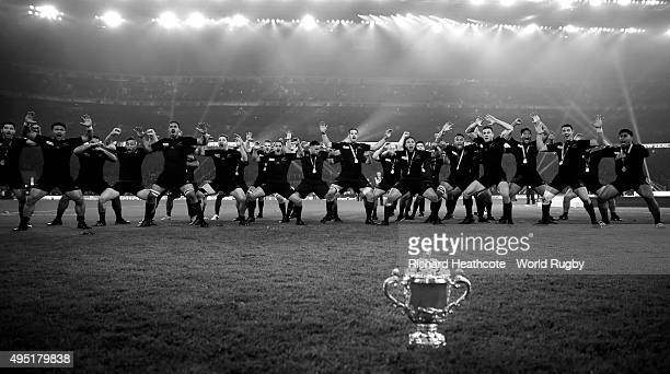The New Zealand All Blacks perform the Haka in front of the Webb Ellis Cup after victory in the 2015 Rugby World Cup Final match between New Zealand...
