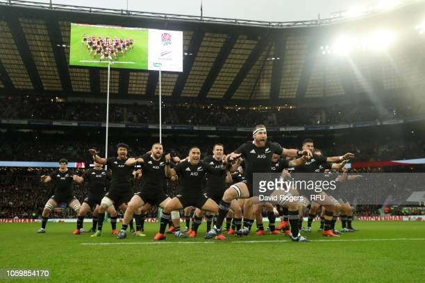 The New Zealand All Blacks perform the haka prior to the Quilter International match between England and New Zealand at Twickenham Stadium on...