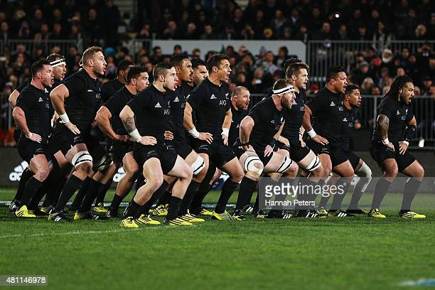 The New Zealand All Blacks perform the haka prior to the The Rugby Championship match between the New Zealand All Blacks and Argentina at AMI Stadium...