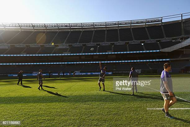 The New Zealand All Blacks practice during the All Blacks captains run at Soldier Field on November 4 2016 in Chicago Illinois