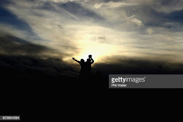 The New Zealand All Blacks practice the lineout during a training session at the Westmanstown Sports Complex on November 17 2016 in Dublin Ireland