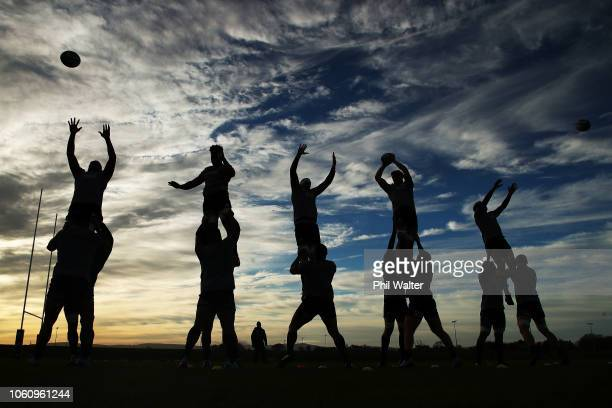 The New Zealand All Blacks practice their lineout throws during a training session at the Sport Ireland Institute on November 13, 2018 in Dublin,...