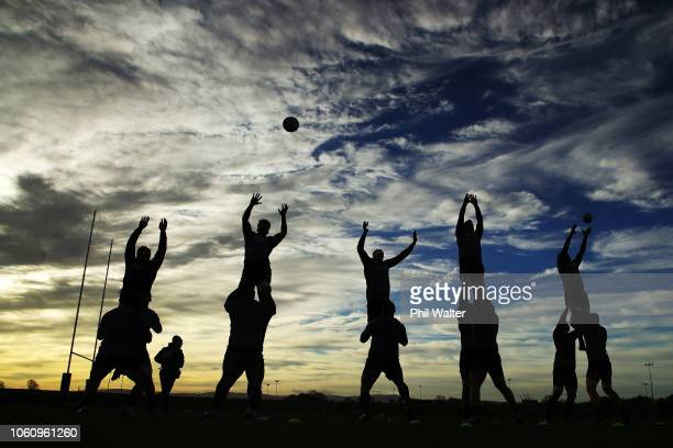 The New Zealand All Blacks practice their lineout throws during a training session at the Sport Ireland Institute on November 13 2018 in Dublin...