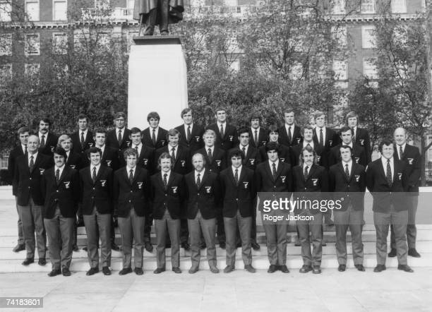 The New Zealand All Blacks rugby team posing for a team photo in Grosvenor Square as they arrive for a tour of Great Britain 25th October 1972 Back...