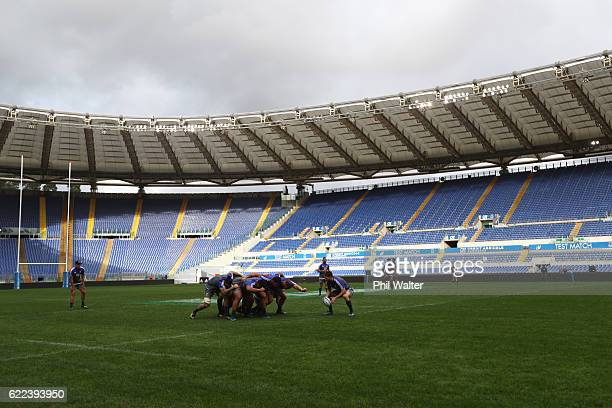 The New Zealand All Blacks set down a scrum during their captains run at Stadio Olimpico on November 11, 2016 in Rome, Italy.
