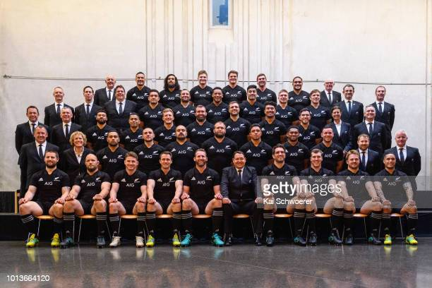 The New Zealand All Blacks Squad pose for a team photo on August 9 2018 in Christchurch New Zealand