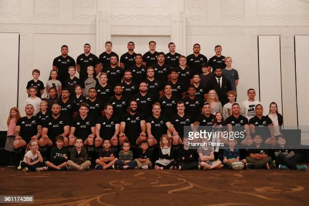 The New Zealand All Blacks squad pose for a team photo on May 21 2018 in Auckland New Zealand
