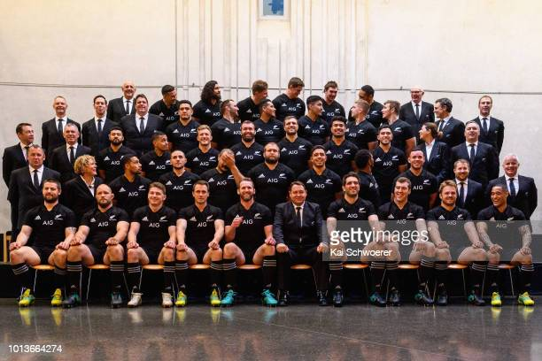 The New Zealand All Blacks Squad react after posing for a team photo on August 9 2018 in Christchurch New Zealand