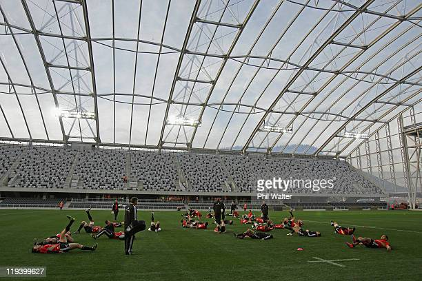 The New Zealand All Blacks train at the new Forsyth Barr Stadium on July 20 2011 in Dunedin New Zealand