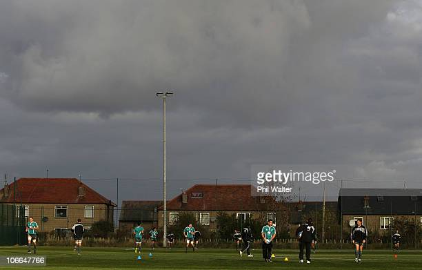 The New Zealand All Blacks train at the Spartans Community Football Academy on November 9 2010 in Edinburgh Scotland