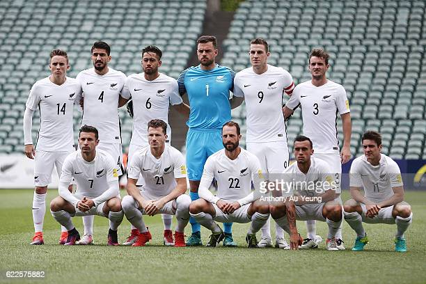 The New Zealand All Whites line up for a team photo prior to the 2018 FIFA World Cup Qualifier match between the New Zealand All Whites and New...