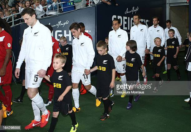 The New Zealand All Whites walk out to Forsyth Barr Stadium before the FIFA World Cup Qualifier match between the New Zealand All Whites and New...