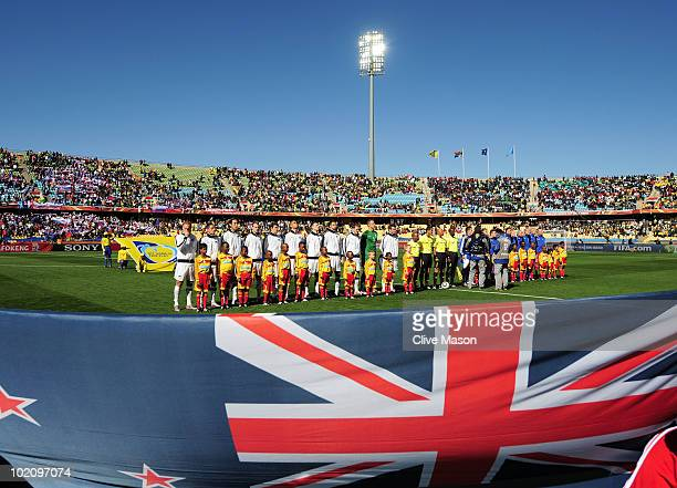 The New Zealand and Slovakia teams line up ahead of the 2010 FIFA World Cup South Africa Group F match between New Zealand and Slovakia at the Royal...