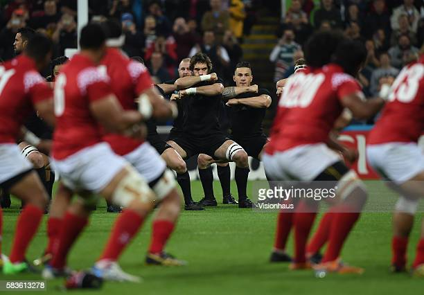 The New Zealand and Tonga teams take part in their own Hakas before the Rugby World Cup Pool C match between New Zealand and Tonga at St James' Park...