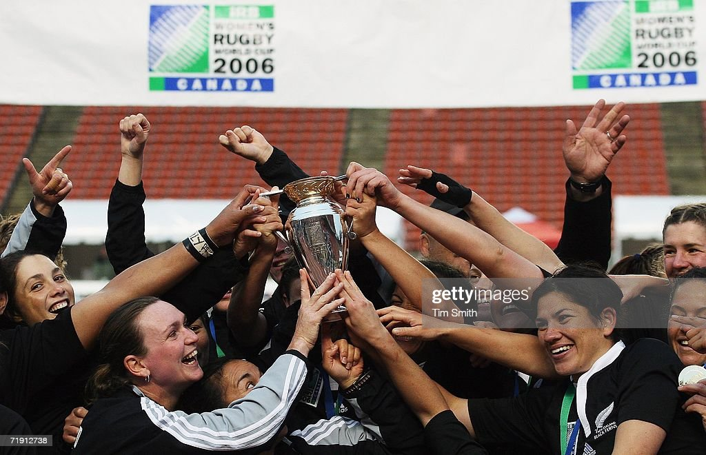 The New Zealand Black Ferns celebrate after their victory over England in the World Cup Final match between England and New Zealand on day six of the Women's Rugby World Cup 2006 at the Commonwealth Stadium on September 17, 2006 in Edmonton, Alberta, Canada. The Black Ferns clinched their third Rugby World Cup in a row.